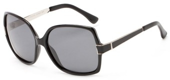 Angle of Granite #3202 in Black/Silver Frame with Grey Lenses, Women's Square Sunglasses