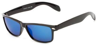 Angle of Elkhorn #4522 in Glossy Black Frame with Blue Mirrored Lenses, Women's and Men's Retro Square Sunglasses