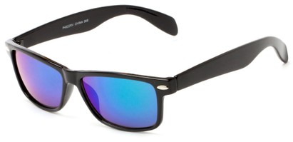 Angle of Elkhorn #4522 in Glossy Black Frame with Blue/Green Mirrored Lenses, Women's and Men's Retro Square Sunglasses