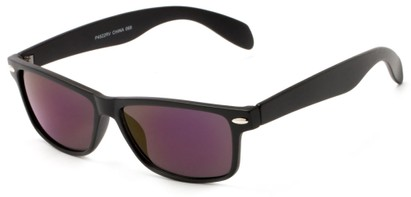 Angle of Elkhorn #4522 in Matte Black Frame with Purple Mirrored Lenses, Women's and Men's Retro Square Sunglasses