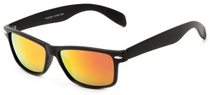 Angle of Elkhorn #4522 in Matt Black Frame with Orange/Red Mirrored Lenses, Women's and Men's Retro Square Sunglasses