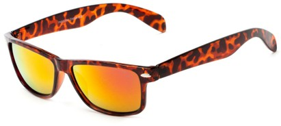 Angle of Elkhorn #4522 in Glossy Tortoise Frame with Orange/Red Mirrored Lenses, Women's and Men's Retro Square Sunglasses