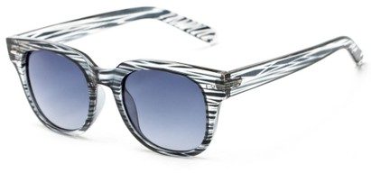 Angle of Findley #5223 in Black/Clear Frame with Grey Lenses, Women's and Men's Retro Square Sunglasses