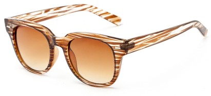 Angle of Findley #5223 in Brown/Clear Frame with Amber Lenses, Women's and Men's Retro Square Sunglasses