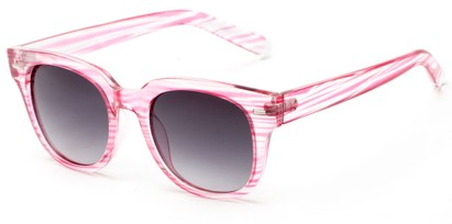 Angle of Findley #5223 in Pink/Clear Frame with Smoke Lenses, Women's and Men's Retro Square Sunglasses