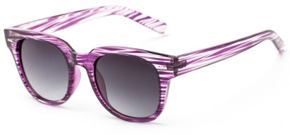 Angle of Findley #5223 in Purple/Clear Frame with Smoke Lenses, Women's and Men's Retro Square Sunglasses