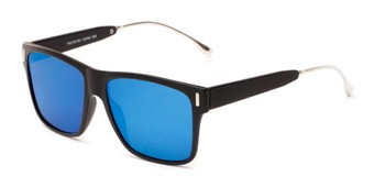 Angle of Ripley #5270 in Black Frame with Blue Mirrored Lenses, Women's and Men's Retro Square Sunglasses