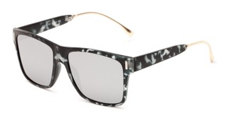Angle of Ripley #5270 in Grey Tortoise Frame with Silver Mirrored Lenses, Women's and Men's Retro Square Sunglasses
