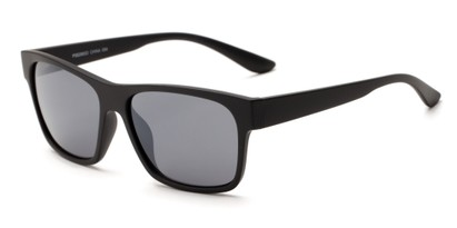 Angle of Percy #5629 in Matte Black Frame with Smoke Mirrored Lenses, Men's Retro Square Sunglasses