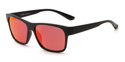 Angle of Percy #5629 in Matte Black Frame with Red Mirrored Lenses, Men's Retro Square Sunglasses