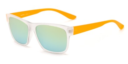 Angle of Percy #5629 in Matte Clear/Orange Frame with Yellow Mirrored Lenses, Men's Retro Square Sunglasses