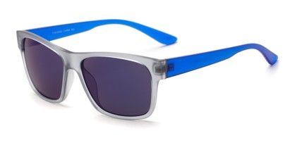 Angle of Percy #5629 in Matte Grey/Blue Frame with Blue Mirrored Lenses, Men's Retro Square Sunglasses