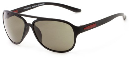 Angle of Indus #7377 in Matte Black Frame with Green Lenses, Women's and Men's Aviator Sunglasses