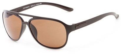 Angle of Indus #7377 in Matte Brown Frame with Brown Lenses, Women's and Men's Aviator Sunglasses