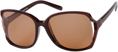 Angle of Redwood #2160 in Brown Frame with Amber Lenses, Women's Square Sunglasses