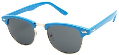 Angle of Midway #1603 in Blue Frame, Women's and Men's Browline Sunglasses