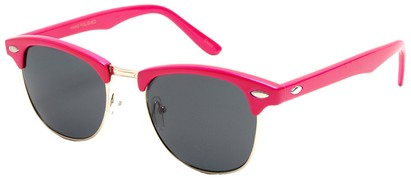 Angle of Midway #1603 in Pink Frame, Women's and Men's Browline Sunglasses