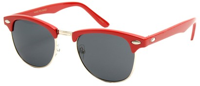 Angle of Midway #1603 in Red Frame, Women's and Men's Browline Sunglasses