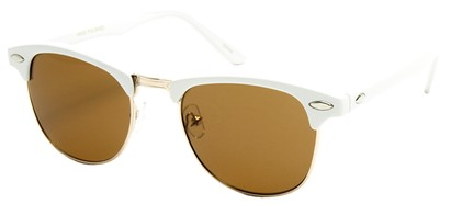 Angle of Midway #1603 in White Frame with Amber Lenses, Women's and Men's Browline Sunglasses
