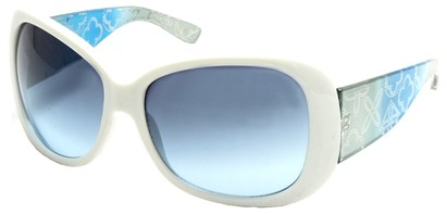 Angle of SW Laser Cut Style #8737 in White and Blue Frame, Women's and Men's