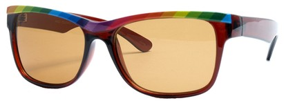 Angle of SW Retro Rainbow Style #8823 in Brown Frame, Women's and Men's