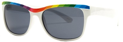 Angle of SW Retro Rainbow Style #8823 in White Frame, Women's and Men's
