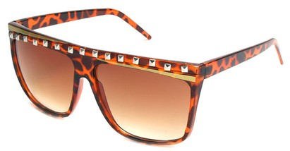 Angle of SW Rock Star Style #5020 in Brown Tortoise and Gold Frame, Women's and Men's