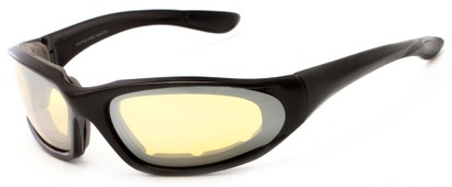 Angle of Helmand #4747 in Matte Black Frame with Yellow Mirrored Lenses, Men's Sport & Wrap-Around Sunglasses