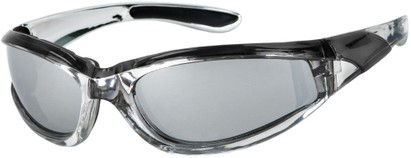 Angle of Fresco #1889 in Silver/Black Frame, Women's and Men's Sport & Wrap-Around Sunglasses