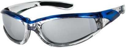 Angle of Fresco #1889 in Silver/Blue Frame, Women's and Men's Sport & Wrap-Around Sunglasses