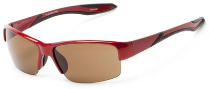 Angle of Mountaineer #4040 in Glossy Red Frame with Amber Lenses, Women's and Men's Sport & Wrap-Around Sunglasses