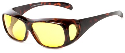 Angle of Haraz #4319 in Tortoise Frame with Yellow Driving Lenses, Women's and Men's Square Sunglasses