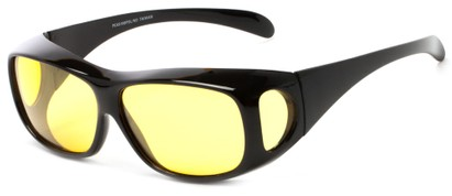 Angle of Haraz #4319 in Black Frame with Yellow Driving Lenses, Women's and Men's Square Sunglasses