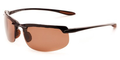 Angle of Motor #5212 in Brown Frame with Copper Driving Lenses, Men's Sport & Wrap-Around Sunglasses