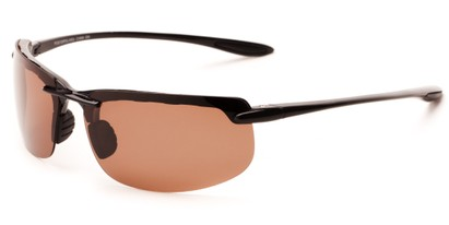 Angle of Motor #5212 in Glossy Black Frame with Copper Driving Lenses, Men's Sport & Wrap-Around Sunglasses