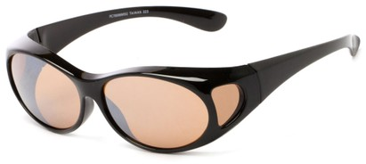 Angle of Mackinac #7009 in Black Frame with Copper Lenses, Women's and Men's Round Sunglasses