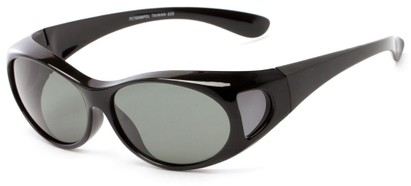 Angle of Roanoke #7096 in Black Frame with Smoke Lenses, Women's and Men's Round Sunglasses