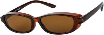 Angle of Nile #4820 in Brown Frame with Amber Lenses, Women's and Men's Square Sunglasses