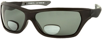 Angle of Piran #7046 in Glossy Black Frame with Smoke Lenses, Women's and Men's Sport & Wrap-Around Reading Sunglasses