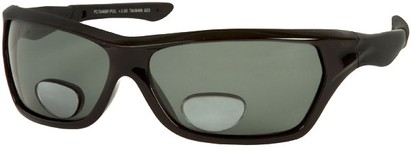 Angle of Piran #7046 in Matte Black Frame with Smoke Lenses, Women's and Men's Sport & Wrap-Around Reading Sunglasses
