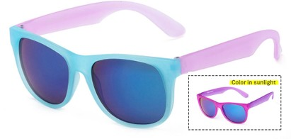 Angle of Waddington #3691 in Blue/Pink Lenses with Blue Mirrored Lenses, Women's Retro Square Sunglasses