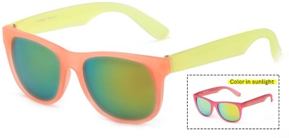 Angle of Waddington #3691 in Orange/Yellow Frame with Yellow/Blue Mirrored Lenses, Women's Retro Square Sunglasses