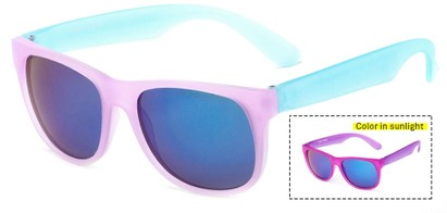 Angle of Waddington #3691 in Pink/Blue Frame with Blue Mirrored Lenses, Women's Retro Square Sunglasses