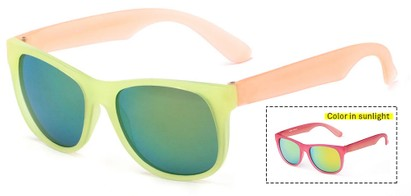 Angle of Waddington #3691 in Yellow/Orange Frame with Yellow/Blue Mirrored Lenses, Women's Retro Square Sunglasses
