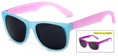 Angle of Fairweather #3690 in Blue/Pink Frame with Smoke Lenses, Women's Retro Square Sunglasses