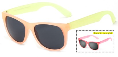 Angle of Fairweather #3690 in Orange/Yellow Frame with Smoke Lenses, Women's Retro Square Sunglasses