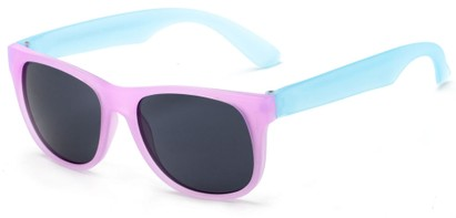 Angle of Fairweather #3690 in Pink/Blue Frame with Smoke Lenses, Women's Retro Square Sunglasses