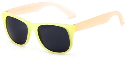 Angle of Fairweather #3690 in Yellow/Orange Frame with Smoke Lenses, Women's Retro Square Sunglasses