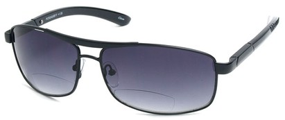 Angle of Alfresco #3324 in Black, Women's Aviator Reading Sunglasses