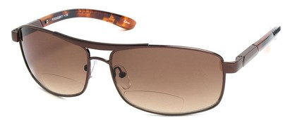 Angle of Alfresco #3324 in Bronze, Women's Aviator Reading Sunglasses